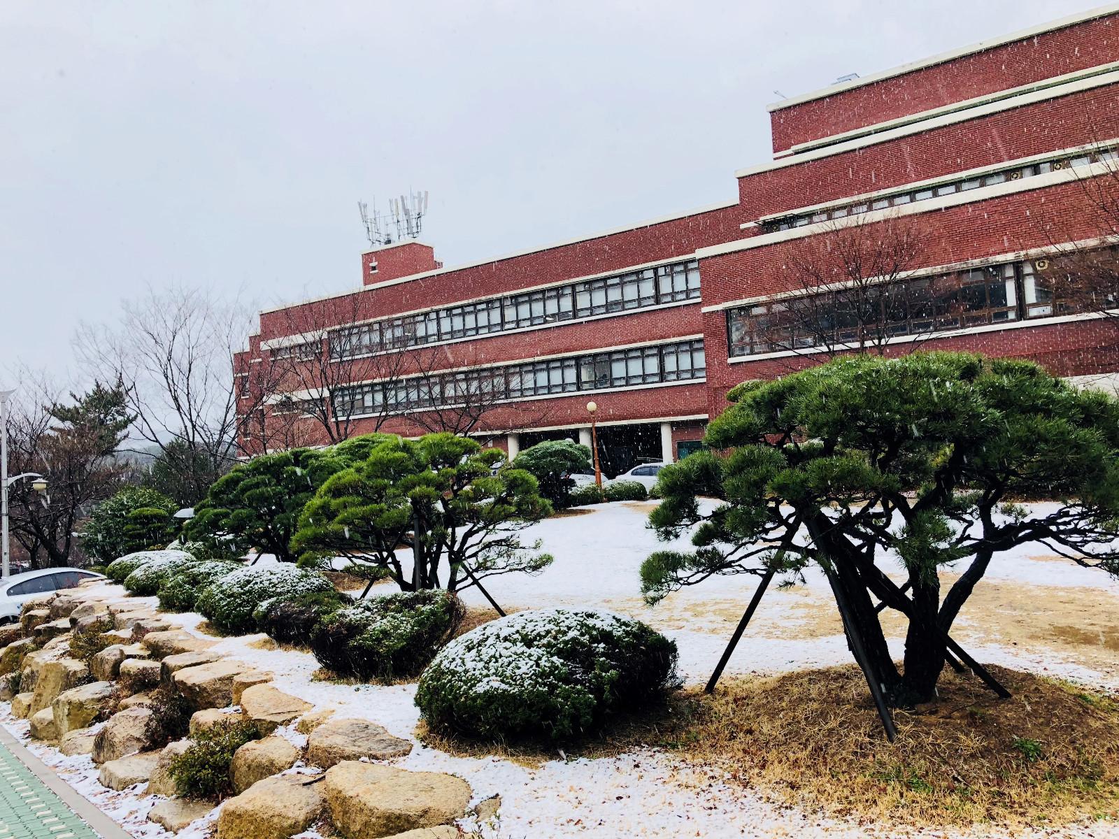 初雪下的教学楼